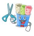 barber rolled ice creams in cartoon cups vector image vector image