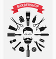 barbershop tools around male face vector image vector image