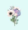 beautiful gentle bouquet with watercolor vector image