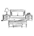 bedroom with nightstand blurred silhouette on vector image vector image