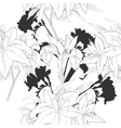 Black and white seamless pattern with flowers-06 vector image vector image