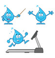 blue water drop characters collection - 8 vector image vector image