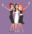 bride with bridesmaids celebrating wedding vector image