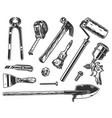 builder tools vintage monochrome set vector image
