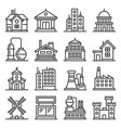 building icons set government industrial and live vector image vector image