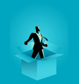 businessman comes out of the box vector image vector image