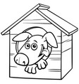 cartoon dog character in doghouse color book page vector image vector image