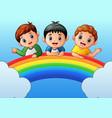 cartoon happy kids on the rainbow vector image vector image