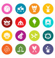 circus icons set colorful circles vector image