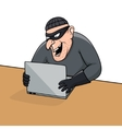 Concept of hacking Cartoon thief trying to hack vector image vector image