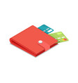 credit cards in purse isometric 3d icon vector image