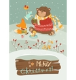 Cute bear and little fox celebrating Christmas vector image vector image