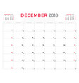 december 2018 calendar planner design template vector image