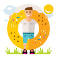 donut boy flat style colorful cartoon vector image vector image