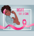 fight like a girl african girl with her fist vector image vector image