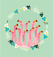 flamingo with tropical flowers background vector image vector image