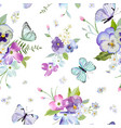floral seamless pattern with flowers butterflies vector image