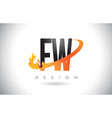 fw f w letter logo with fire flames design and vector image vector image