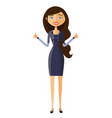 glad businesswoman showing thumbs up vector image