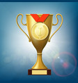 golden cup and medal for victory vector image