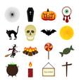 halloween color icon set vector image