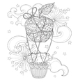Hand drawn doodle outline air balloon in flight vector image