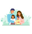 happy family at leaves background mother father vector image vector image