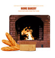homemade bread brick oven burning flame on vector image vector image