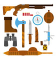 hunting icons flat set with knife axe shotgun case vector image vector image