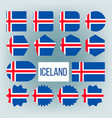 iceland flag collection figure icons set vector image vector image