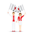 japan flag waving man and woman vector image