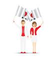 japan flag waving man and woman vector image vector image