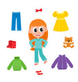 little girl in pajamas and her wardrobe clothes vector image