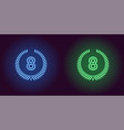 neon eighth place in blue and green color vector image