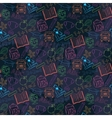 Neon Seamless pattern Back to schoolon a dark vector image