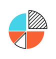 pie chart color icon circle divided into parts vector image