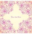 Pink doodle vintage flowers background vector image
