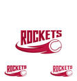 rocket tennis logo for the team and the cup vector image vector image
