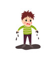 sad boy in soiled clothes and dirty hands standing vector image vector image