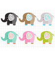 set isolated colorful elephants vector image vector image
