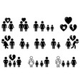 set of black icons with family situation vector image vector image