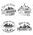 set of mountains related typographic quote vector image vector image