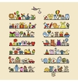 Shelves with baby icons for your design vector image vector image