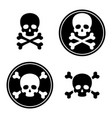 skull and crossbones icon set vector image vector image