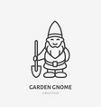 smiling garden gnome dwarf flat line icon thin vector image