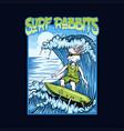 surf rabbits vector image vector image