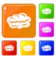 technology cloud icons set color vector image vector image