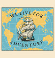 travel banner with sailing ship and world vector image vector image