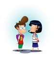 two school children on blue background vector image