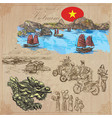 vietnam pictures of life colored pack hand vector image vector image